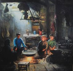 Shen Ming Cun (Chinese: 1956) - Contemplating the Meal, Dong Tribe