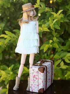 White Sand- momoko doll, love the luggage