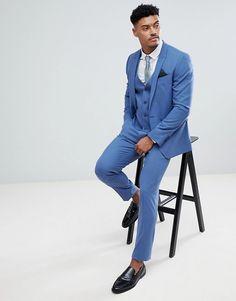 e1c3a1f6d7145 ASOS DESIGN | ASOS Skinny Suit Jacket In Cornflour Blue Asos, Niebieski,  Kurtki,
