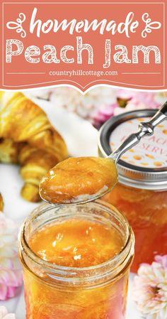 Delicious peach preserves are syrupy and soft-set with juicy peach chunks throughout. This homemade peach jam tastes scrumptious on scones and toast. Jelly Recipes, Jam Recipes, Canning Recipes, Kitchen Recipes, Canning Tips, Cooker Recipes, Peach Preserves Recipe, Fruit Preserves, Peach Jam