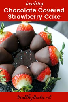 If a chocolate cake and a brownie had a baby, it'd be this fudgy Dark Chocolate Strawberry Cake! It's a hybrid between light and fluffy, and dense and fudgy, with fresh strawberries and strawberry jam on top. Healthy Dark Chocolate, Chocolate Strawberry Cake, Strawberry Cake Recipes, Chocolate Cake, Chocolate Desserts, Healthy Fruit Desserts, Healthy Snacks For Kids, Healthy Eats, Dairy Free Recipes