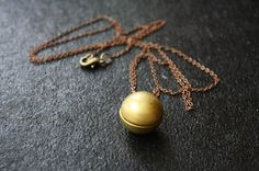 Ball and Chain Locket Pendant, Long Necklace, Round, Sphere Shape, Copper and Brass, Small Locket