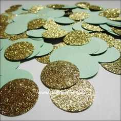 Handmade mint green and gold glitter confetti for you to decorate reception and cake tables. A sparkling supply for weddings, birthdays, showers and sweet 16 celebrations. Add some glam to your desser