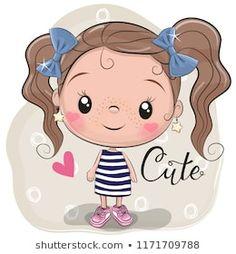 Cute Girl on a beige background. Cute Cartoon Girl on a beige background stock illustration Cartoon Cartoon, Cute Cartoon Girl, Cartoon Characters, Cute Images, Cute Pictures, Beige Background, Girl Background, Free Vector Art, Cute Drawings