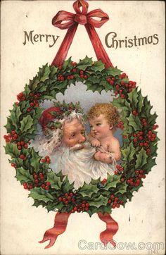 Vintage Santa and Baby Christmas Postcard