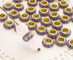 Frosted Tanzanite Purple Swarovski Rhinestone Rondelles Shrag Spacer Beads 8mm - 8 by alyssabethsvintage on Etsy