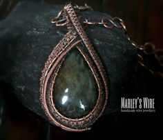 Wire wrapped Labradorite and Copper pendant with by MarleysWire