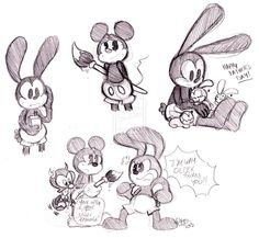 Oswald, Mickey, and Gus doodles (ft. Bunny Children)