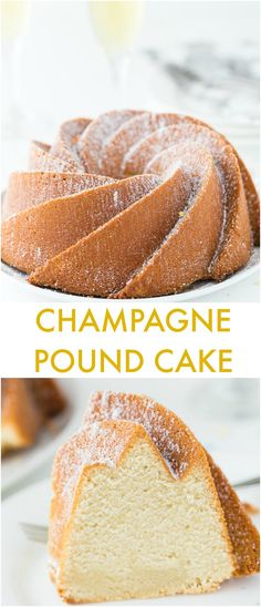 Champagne Pound Cake An easy moist and crumbly champagne pound cake recipe that is perfect for any celebration from New Year's Eve to birthdays. - An easy moist and crumbly champagne pound cake recipe that is perfect for New Year's Eve celebrations. New Year's Desserts, Christmas Desserts, Delicious Desserts, Plated Desserts, Pound Cake Recipes, Easy Cake Recipes, Dessert Recipes, Pound Cakes, Drink Recipes
