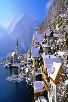 Good God, it's like winter in Middle Earth! I have to go here! Hallstatt, Austria - Winter