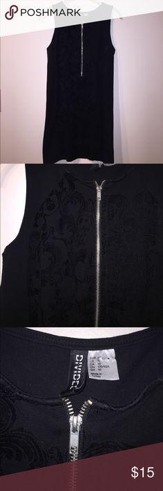 H&M Bodycon Dress H&M Black Bodycon Dress w/ front zipper and front velour pattern, women's size 10, WORN ONCE! H&M Dresses Mini