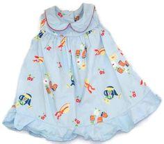 Cotton Kids Girls Blue Dress 3 mos Bloomers Flower Garden #CottonKids #Everyday