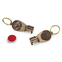 """""""Beers Not Bombs"""" Keychain & Bottle Opener (made from disarmed nuclear weapon systems) via uncommongoods $15.00"""