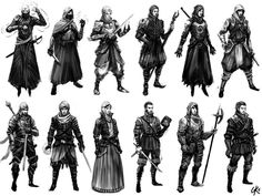 Battle-mage Character Thumbnails by ~Gillesketting on deviantART hood and face cover on second, striped hood on fifth, headgear on eighth, general style/patterns