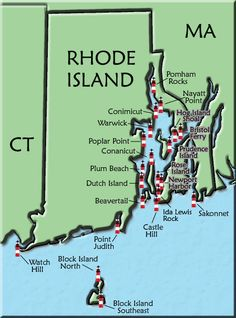 Rhode Island Lighthouse Map have a lot of lighthouses for one tiny state