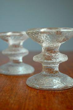 Scandinavian Modern Glass iittala Festivo Candle Holders  by luola