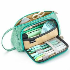 EASTHILL Medium Capacity Pencil Pen Case Bag Pouch Holder Multi-Slot School Supplies for Middle High School Office College Girl Adult Simple Storage Mint Green: Arts, Crafts & Sewing Too Cool For School, Middle School, High School, Cute School Supplies, College Supplies, Craft Supplies, Pens And Pencils, Pencil Bags, Cute Pencil Pouches