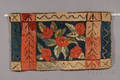 Wool and Cotton Floral Hooked Rug