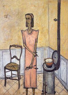 Bernard Buffet // Femme au poêle - 1947 huile sur toile 181 x 128 cm // ©ADAGP