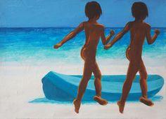 Julita Malinowska - Return on Art< Uk Universities, Human Behavior, True Colors, Finland, Oil On Canvas, Scene, Boat, Fine Art