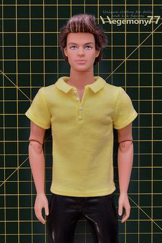 Ken doll in custom made 6 scale polo shirt with 4 buttons and collar Diy Clothes And Shoes, Diy Barbie Clothes, Ken Barbie Doll, Barbie Dress, Barbie Sewing Patterns, Doll Clothes Patterns, Custom Polo Shirts, Accessoires Barbie, Barbie Wardrobe
