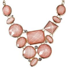 Women's Assorted Stone Plate Necklace - Pink : Target Mobile