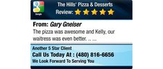 The pizza was awesome and Kelly, our waitress was even better. ..
