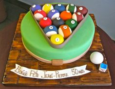 Montreal's best Bakery and Pastry Shop Special Birthday Cakes, Birthday Cakes For Men, Cakes For Boys, Pool Table Cake, Pool Cake, Fondant Cakes, Cupcake Cakes, Simple Birthday Cake Designs, Skittles Cake