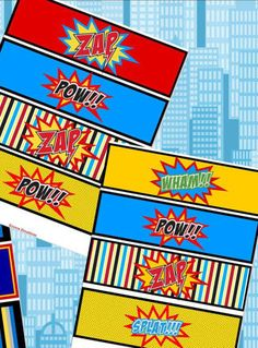 SUPER Hero Party Printables - BOTTLE LABELS Superheroes Party for Spiderman, Batman and Superman  - Instant Download $3