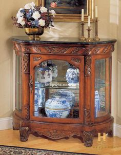 European Styled Marble Top Console Curio By Homelegance (SA 908 12)