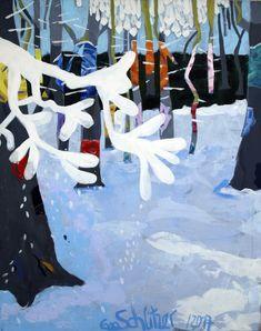 """Works by Eva Schlitzer, """"Winterwald"""", 100 x 80, Acryl auf Leinen, 2017,  Schnee, Wald, zeitgenössische Malerei, abstrahierte Landschaft"""