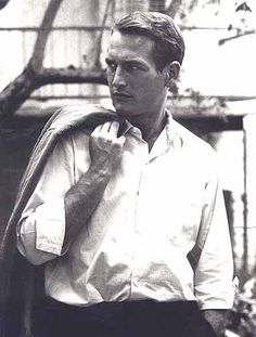 It's a white shirt. But it's a white shirt on Paul Newman.