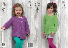 Double Knit Pattern Girls Sweater & Cardigan 3916