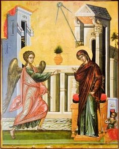 This is the second image in the series. It's the Annunciation to the Virgin of the Divine plan. Spirituality Books, Open Up, Religion, Places To Visit, Gallery, Painting, Image, Greek Cooking, Lungs