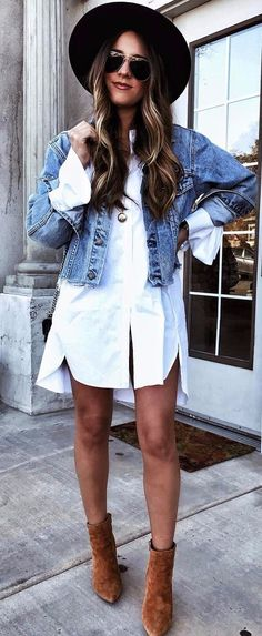 Neutral Basic 3: Blouse // How to style a white button down, classic white shirt, chic looks, suede ankle boots, shirt dress, denim jacket
