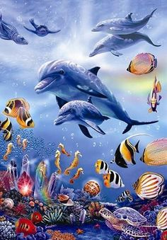 Diy diamond Painting Sea world Dolphins and fish Diamond Embroidery Full Square Diy Kit Drill Nee Sea Dolphin, Dolphin Art, Dolphins Animal, Murals Your Way, Underwater Painting, Delphine, Ocean Creatures, Tier Fotos, Cross Paintings