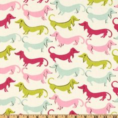 Waverly Hot Dogs, Flamingo, fabric, at fabric.com