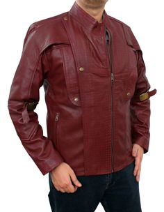 fjackets Men's Chris Red Galaxy and Capt Civil Leather Jacket at Amazon Men's Clothing store:
