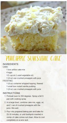 Pineapple Sunshine Cake Recipe, Pineapple Desserts, Crushed Pineapple Cake, Easy Pineapple Cake, Pineapple Recipes, Pinapple Cake, Eating Pineapple, Hawaiian Desserts, Pineapple Angel Food