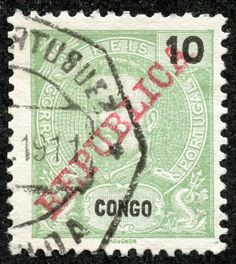 Portuguese Congo 1911 Scott 62 10r light green Issue of 1898-1903 overprinted