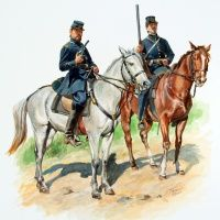"""The Sussex Light Dragoons, Company C of the Virginia Cavalry, By Don Troiani. The uniform of this company was dark blue frock coats and forage caps with yellow piping and crossed sabers with the letters """"SLD"""" on the front. Gray shirts were also worn. Mexican American War, American Civil War, Louis Xvi, Patriotic Images, Civil War Art, Seven Years' War, British Soldier, French Army, Military Art"""