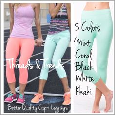 """Essential Capri Leggings Essential Capri leggings in colors white, black, khaki, coral & mint. A must have summer wardrobe essential. Made of a quality poly/spandex blend. OSFM.                                            Item #0193 Inseam 18.5"""" Rise 10"""" Waist fits up to 32"""" Threads & Trends Pants Leggings"""