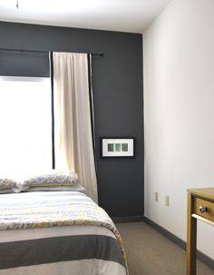 Curtains:  2 inch black ribbon sewn on plain canvas curtains = easy, cheap chic