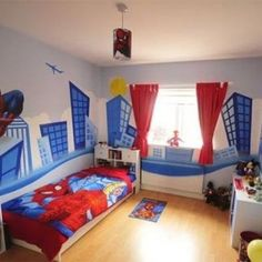 Sensational red white and blue Marvel bedroom theme design for boys from getitcut.com
