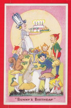 L.R. Steele, Children, Fairies, Bunny's birthday, Salmon postcard. | eBay