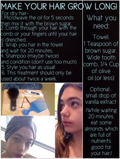 Treatment to grow long hair! I Actually do this all the time, but I never heard of putting in brown sugar. I gotta try it!