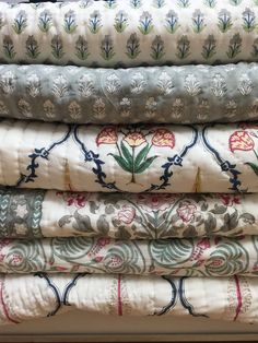 Textiles, Textile Prints, Elephant Quilt, Embroidered Bedding, Print Patterns, Mixing Patterns, Textile Patterns, Fabric Wallpaper, Fabric Samples