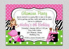 Girls Birthday Party Invite Template Best Of Glamour Girl Birthday Spa Invitation Glamour Girl Birthday Free Printable Birthday Invitations, Printable Party, Invitation Birthday, Birthday Template, Spa Birthday Parties, Home Interior, Girl Birthday, Surprise Birthday, Birthday Ideas