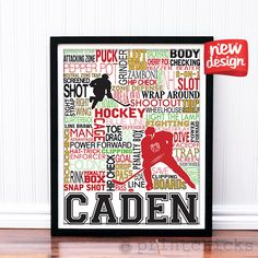 Ice Hockey Poster - Personalized Hockey Decor - Hockey Team Prints - Sport Typography Print – PrintChicks