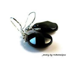 Dangle Rainbow Obsidian Earrings Drop Black by MsBsDesigns on Etsy, $42.00